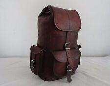 """16"""" High Vintage Brown Leather Backpack Sports Gym Shoulder Bag Hiking Rucksack"""