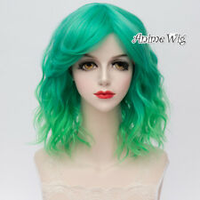 35CM Lolita Mixed Green Fluffy Bang Ombre Curly Synthetic hair Cosplay Wig+Cap