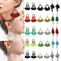 Chic Beaded Crystal Tassel Earrings Ear Drop Dangle Handmade Braid Jewelry Gifts