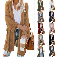 Womens Open Front Fly Away Cardigan Sweater Long Sleeve Loose Drape Casual
