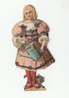 [64263] VINTAGE PAPER DOLL LITTLE GIRL WITH PALE AND PUPPY