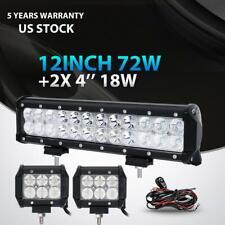 "12""inch 72W+4"" 18W LED Light Bar Work SPOT FLOOD 4WD CAR ATV SUV+ Wiring Kit 14"