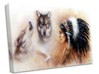 Wolves And Red Indian Canvas Wall Art Picture Print