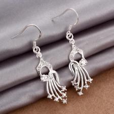 Womens 925 Sterling Silver CZ Crystal Drop Dangle Hook Charm Earrings #EA126