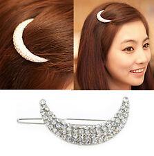 Women Cute Beauty Crystal Moon Rhinestone Headwear Hairpin Hair Clip Jewelry HS8