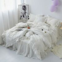 4/7Pcs  Cotton Bedding Set Grey Cream White Chic Ruffled Duvet Cover Bedskirt
