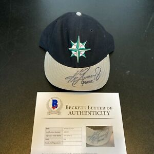 Ken Griffey Jr. Signed Game Used Seattle Mariners Hat Inscribed Gamer Beckett