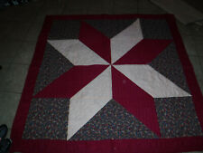 HANDMADE Quilt, Star Pattern with solid maroon Backing, Vintage 59x61