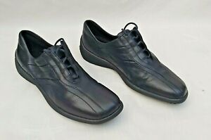 ECCO NAVY / DARK BLUE LEATHER LACE UP TRAINER STYLE SHOES UK8 NEW FREE UK P&P!!
