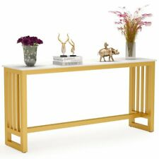 Tribesigns Console Table Behind Couch Table with Faux Marble Top and Gold Frame
