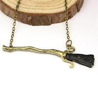 Harry Potter Deathly Hallows Firebolt Broomstick Broom Pendant Charm Necklace BA