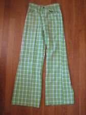 vtg Buster Brown retro green Plaid Flared Pants bell bottom kids jeans Nos 14