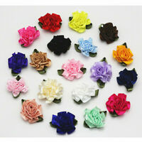 12/50pcs Small Satin Ribbon Carnation Flower Appliques/craft/Wedding decoration