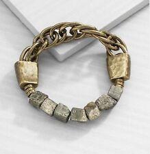 Silpada K&R 'Neutral Chain' Edgy Pyrite Stones Brass Links Bracelet NEW KRB0137