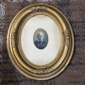 """Early 19th Century Wooden Gold Gilt Oval Picture Frame w Portrait Photo 10"""" x 8"""""""