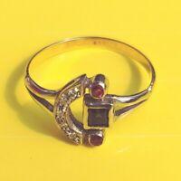 Exklusiver Art Deco Ring Echte Diamanten Rubine Saphir Echtes 585 Weißgold