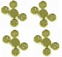 Lego Minifig Utensil Chrome Gold Coins x 4 Sets of 4 Coins on Sprues 10 20 30 40