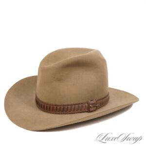 Vintage John B. Stetson Mushroom Khaki Leather Banded Western Cowboy Hat 7 3/8