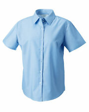 Russell Collection 933F Ladies Medium Size 12 Short Sleeve Oxford Blue Shirts