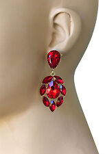 """2.5"""" Long Red Crystals Turkish Designer Inspired Earrings, Bridal, Pageant"""