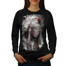 Wellcoda Native American Fantasy Womens Sweatshirt, Eagle Casual Pullover Jumper
