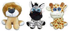 Peluche animaux de la jungle 17 cm en velours Lion Zèbre Girafe Neuf