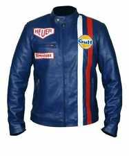 Men's Steve McQueen Le Mans Gulf Racing Blue Leather Jacket