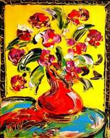 RED FLOWERS  expressionist  Large Abstract Modern Original Oil Painting Canvas