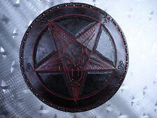 LEATHER TOOLING CARVED BAPHOMET BACKPATCH (leatherBK05) black metal. ANTON LAVEY