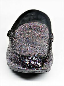 Clarks Womens Faux Fur Moccasin Slip On Shoes Black Glitter 10M New