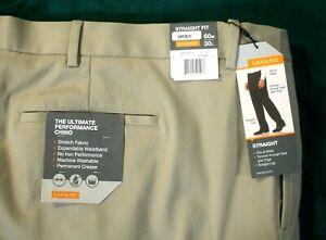 Savane Performance Comfort Pants Straight Fit Khaki Pleated Men's Sz 60 x 30 NEW