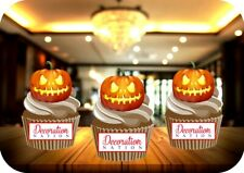 Halloween Pumpkin Lit (Candles) 12 Edible STANDUP Cake Toppers Decoration Scary