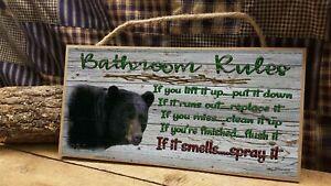 "Black Bear Bathroom Rules Rustic Cabin Lodge 5"" x 10"" Bath SIGN Plaque"