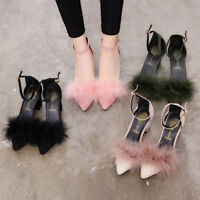 Women's Fur Furry Plush Ankle Strap Buckle High Thick Heel Party Pointed Shoes 0