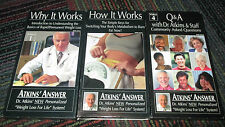 ATKINS' ANSWER WEIGHT LOSS FOR LIFE VIDEO 1, 2, AND 4, VHS SET, GUC