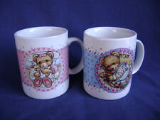 Pair of Coffee Mugs Teddy Bear, Girl on Pink, Boy on Blue, His & Hers