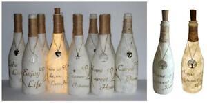 Leucht-Flasche Deko Artikel mit Korken-Lichterkette m. goldenem Spruch nach Wahl
