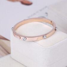 Henri Bendel Rose Gold Metal Rivet Logo Crystal Bangle Bracelet - Petite