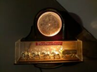 Vintage Budweiser Beer Clydesdale Lighted Clock Sign Missing Parts Read