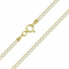 """10K Solid Yellow Gold White Pave Mariner Necklace Chain 2mm 16-26"""" - Diamond Cut"""
