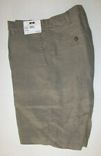 $89 New Jos A Bank JOSEPH ABBOUD Linen flat front shorts in solid olive 34 W