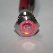 Wasserdicht 16mm Rot 12V Power / Engel LED Edelstahl EIN / AUS Schalter