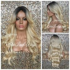 Long Blonde Full Wig Loose Wavy Dark Roots Bangs Layers Heat Safe Ok