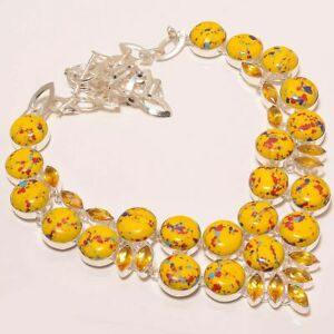 """Mosaic Balloon Turquoise & Citrine 925 Sterling Silver Necklace 16-17.99"""" M1410"""