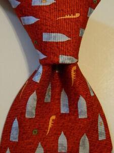 BVLGARI SEVENFOLD Men's 100% Silk Necktie ITALY Luxury Geometric Red PERFECT