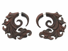FAKE GAUGE EARRINGS Sono Wood rosewood  F160 carved wooden surgical steel POSTS