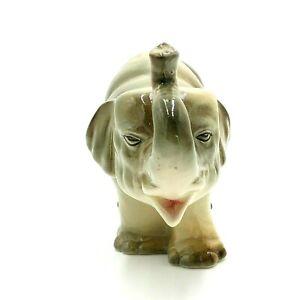 Vintage Pottery Elephant with Tusks Figurine Trunk Up Grey Ceramic Figurine