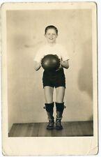 RPPC  Basketball Boy with Ball Knee Pads