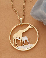 "Giraffe Pendant and Necklace, Giraffe Coin Hand Cut, 1 1/4""  in Dia., ( #883  )"