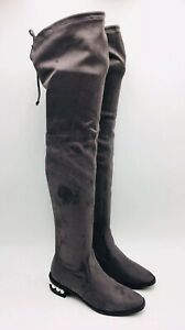 Catherine Malandrino Women's Perse Embellished Over The Knee Boots Size 6.5 Grey